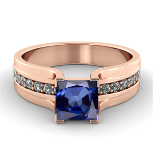 "1.2 Carat 14K White Gold Blue Sapphire & Diamonds ""Bridget"" Engagement Ring"