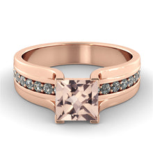 "Load image into Gallery viewer, 1.2 Carat 14K Rose Gold Morganite & Diamonds ""Bridget"" Engagement Ring"
