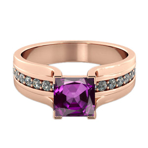 Princess Cut Purple Amethyst Ring - Diamonds Mine