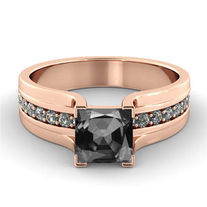 "1.2 Carat 14K Rose Gold Black Diamond ""Bridget"" Engagement Ring"