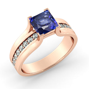 1.2 Carat 14K Rose Gold Blue Sapphire & Diamonds