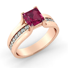 "Load image into Gallery viewer, 2.2 Carat 14K Rose Gold Ruby & Diamonds ""Bridget"" Engagement Ring"