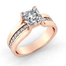 "Load image into Gallery viewer, 1.2 Carat 14K Rose Gold Moissanite & Diamonds ""Bridget"" Engagement Ring"