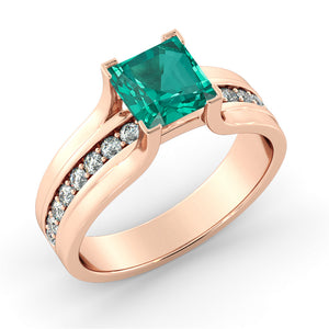 "1.2 TCW 14K Rose Gold Emerald ""Bridget"" Engagement Ring"