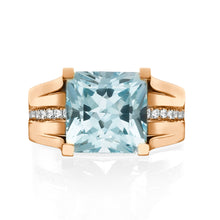 "Load image into Gallery viewer, 1.2 Carat 14K White Gold Blue Topaz & Diamonds ""Bridget"" Engagement Ring 