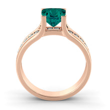 "Load image into Gallery viewer, 1.2 Carat 14K Rose Gold Emerald & Diamonds ""Bridget"" Engagement Ring"