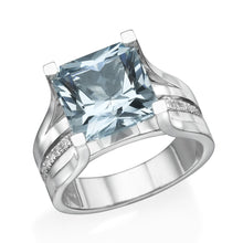 Load image into Gallery viewer, Vintage Diamonds Accented Aquamarine Ring - Diamonds Mine