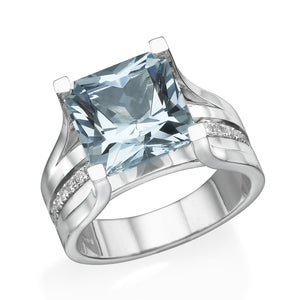 Vintage Diamonds Accented Aquamarine Ring - Diamonds Mine
