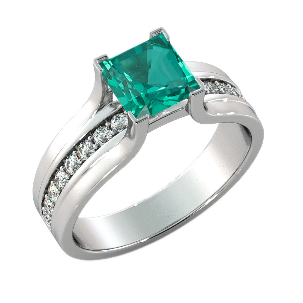 Vintage Emerald Ring with Diamonds - Diamonds Mine