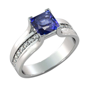 Antique Blue Sapphire & Diamonds Engagement Ring - Diamonds Mine