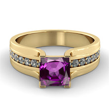 "Load image into Gallery viewer, 1.2 Carat 14K Yellow Gold Amethyst ""Bridget"" Engagement Ring"