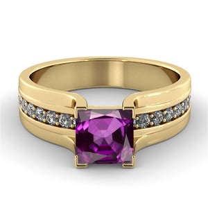 1.2 Carat 14K Yellow Gold Amethyst
