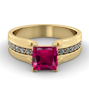 "2.2 Carat 14K White Gold Ruby & Diamonds ""Bridget"" Engagement Ring"