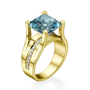 "3.2 Carat 14K Rose Gold Aquamarine & Diamonds ""Bridget"" Engagement Ring"