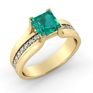 "1.2 Carat 14K Rose Gold Emerald & Diamonds ""Bridget"" Engagement Ring"