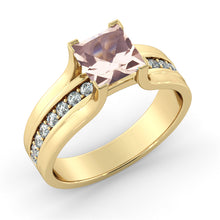 "Load image into Gallery viewer, 1.2 Carat 14K White Gold Morganite & Diamonds ""Bridget"" Engagement Ring"