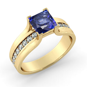 "1.2 Carat 14K Rose Gold Blue Sapphire & Diamonds ""Bridget"" Engagement Ring"