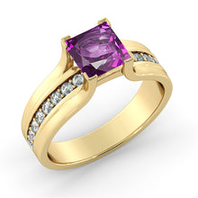 "Load image into Gallery viewer, 1.2 Carat 14K Rose Gold Amethyst & Diamonds ""Bridget"" Engagement Ring 