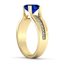 "Load image into Gallery viewer, 1.2 Carat 14K Yellow Gold Blue Sapphire & Diamonds ""Bridget"" Engagement Ring"