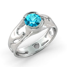 "Load image into Gallery viewer, 1 Carat 14K Rose Gold Blue Topaz ""Diane"" Engagement Ring"