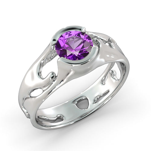 "1 Carat 14K White Gold Amethyst ""Diane"" Engagement Ring - Diamonds Mine"