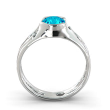 "Load image into Gallery viewer, 1 Carat 14K White Gold Blue Topaz ""Diane"" Engagement Ring"