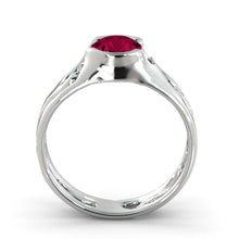 "Load image into Gallery viewer, 2 Carat 14K White Gold Ruby ""Diane"" Engagement Ring"
