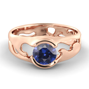 "1 Carat 14K White Gold Blue Sapphire ""Diane"" Engagement Ring 