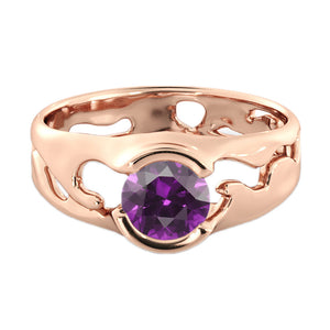 "1 Carat 14K Rose Gold Amethyst ""Diane"" Engagement Ring - Diamonds Mine"