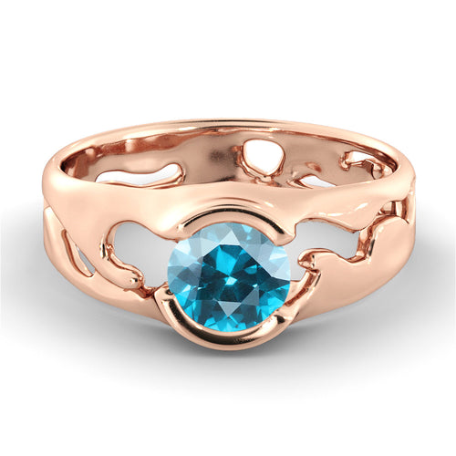 1 Carat 14K Rose Gold Blue Topaz