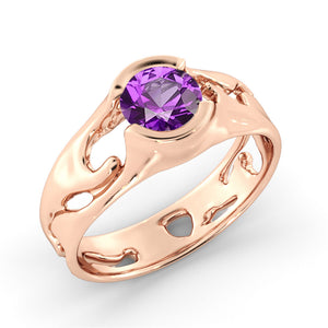 "1 Carat 14K Yellow Gold Amethyst ""Diane"" Engagement Ring"