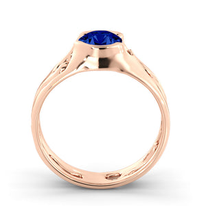 "1 Carat 14K Rose Gold Blue Sapphire ""Diane"" Engagement Ring"