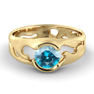 "1 Carat 14K Rose Gold Blue Topaz ""Diane"" Engagement Ring"