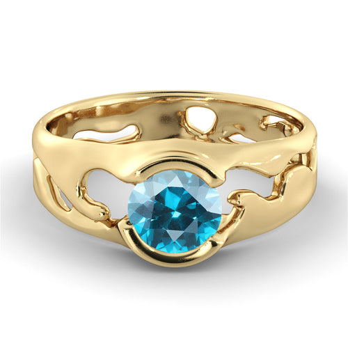 1 Carat 14K Yellow Gold Blue Topaz