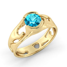 "Load image into Gallery viewer, 1 Carat 14K Yellow Gold Aquamarine ""Diane"" Engagement Ring"