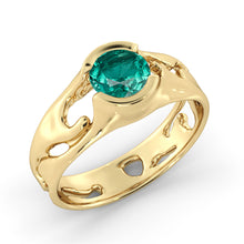 "Load image into Gallery viewer, 1 Carat 14K Yellow Gold Emerald ""Diane"" Engagement Ring"