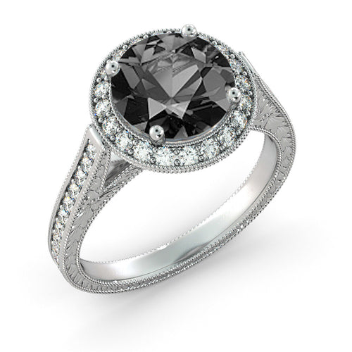 "2.6 TCW 14K White Gold Black Diamond ""Barbara"" Engagement Ring - Diamonds Mine"