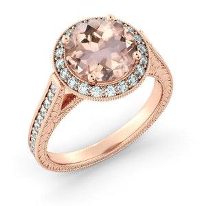 "2.6 TCW 14K Rose Gold Morganite ""Barbara"" Engagement Ring - Diamonds Mine"