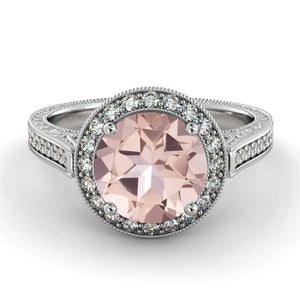 "2.6 Carat 14K White Gold Morganite & Diamonds ""Barbara"" Engagement Ring"