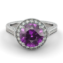 "Load image into Gallery viewer, 2.1 TCW 14K White Gold Amethyst ""Barbara"" Engagement Ring - Diamonds Mine"