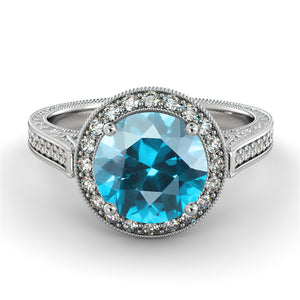 "2.1 TCW 14K White Gold Aquamarine ""Barbara"" Engagement Ring - Diamonds Mine"