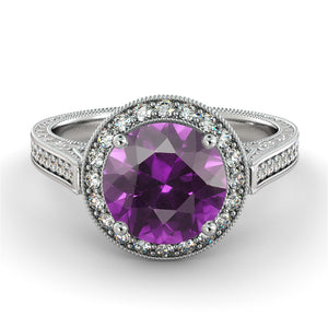 "2.1 Carat 14K Yellow Gold Amethyst & Diamonds ""Barbara"" Engagement Ring"