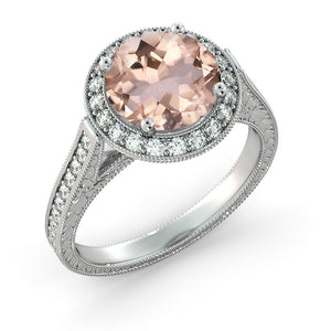 "2.6 TCW 14K White Gold Morganite ""Barbara"" Engagement Ring - Diamonds Mine"