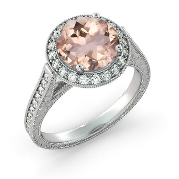 2.6 Carat 14K White Gold Morganite & Diamonds