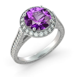 "2.1 TCW 14K Rose Gold Amethyst ""Barbara"" Engagement Ring"