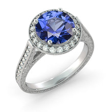 "Load image into Gallery viewer, 2.1 Carat 14K Yellow Gold Blue Sapphire & Diamonds ""Barbara"" Ring"