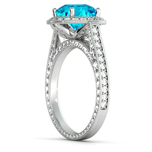 "2.1 Carat 14K White Gold Blue Topaz & Diamonds ""Barbara"" Engagement Ring"