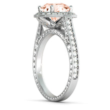 "Load image into Gallery viewer, 2.6 Carat 14K Rose Gold Morganite & Diamonds ""Barbara"" Engagement Ring"