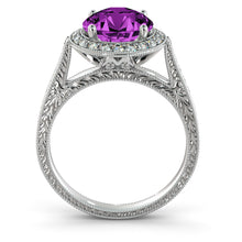 "Load image into Gallery viewer, 2.1 Carat 14K Yellow Gold Amethyst & Diamonds ""Barbara"" Engagement Ring"