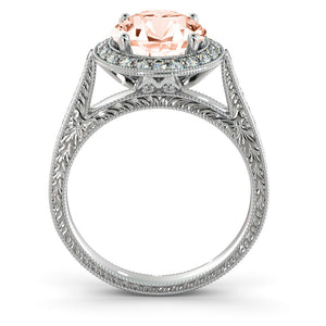 "2.6 Carat 14K White Gold Morganite & Diamonds ""Barbara"" Engagement Ring 